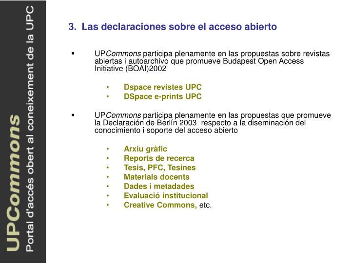 3.Las declaraciones sobre el acceso abierto
