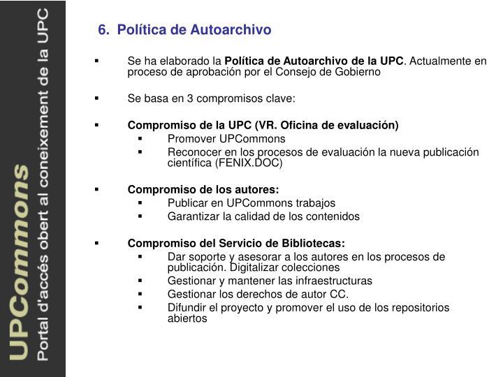 6.Política de Autoarchivo