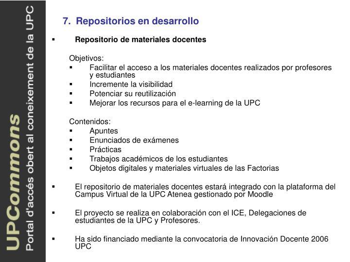 7.Repositorios en desarrollo