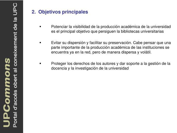 2.Objetivos principales