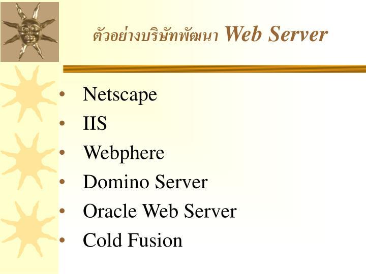 ตัวอย่างบริษัทพัฒนา Web Server