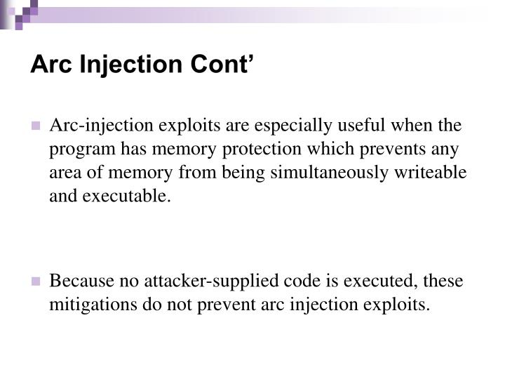 Arc Injection Cont'