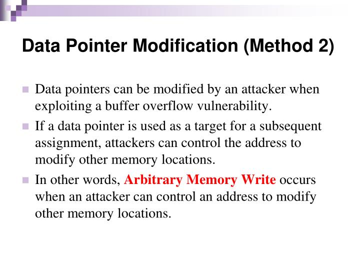 Data Pointer Modification (Method 2)