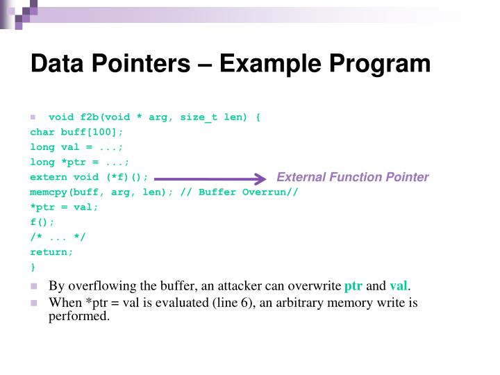 Data Pointers – Example Program