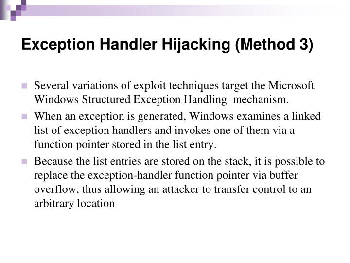 Exception Handler Hijacking (Method 3)