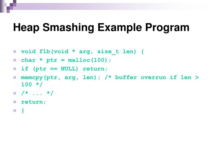 Heap Smashing Example Program