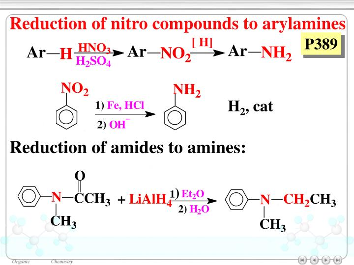Reduction of nitro compounds to arylamines