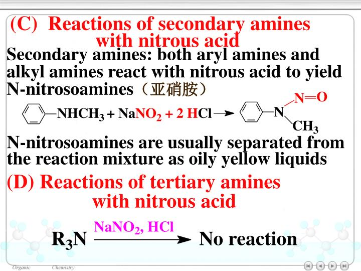 (C)  Reactions of secondary amines