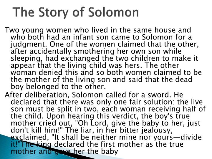 The Story of Solomon