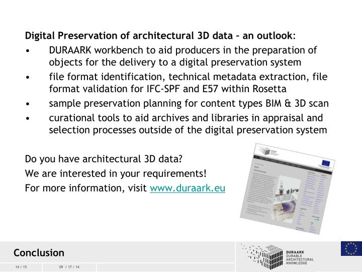 Digital Preservation of architectural 3D data – an outlook