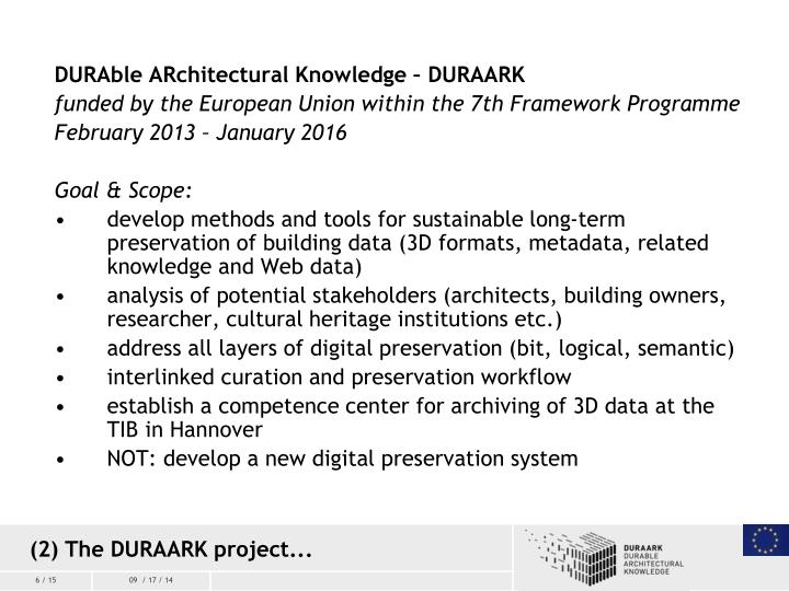 DURAble ARchitectural Knowledge – DURAARK
