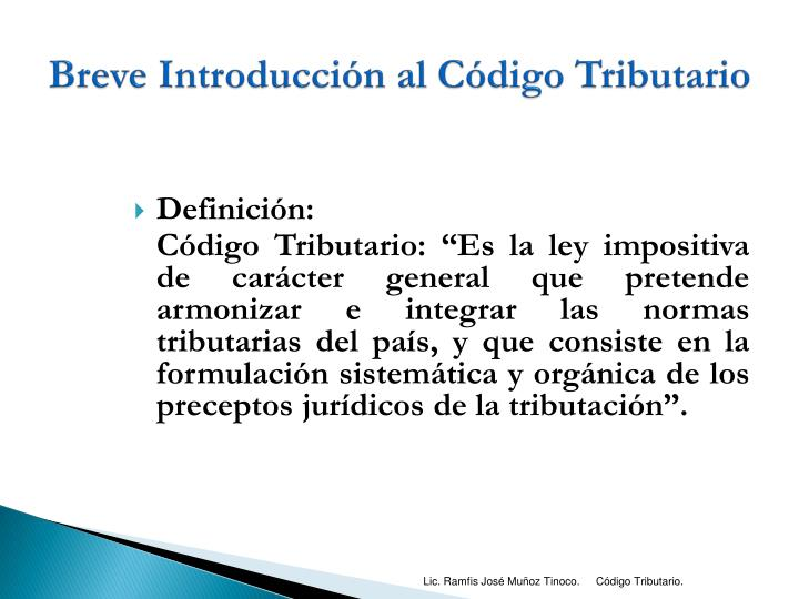 Breve Introducción al Código Tributario
