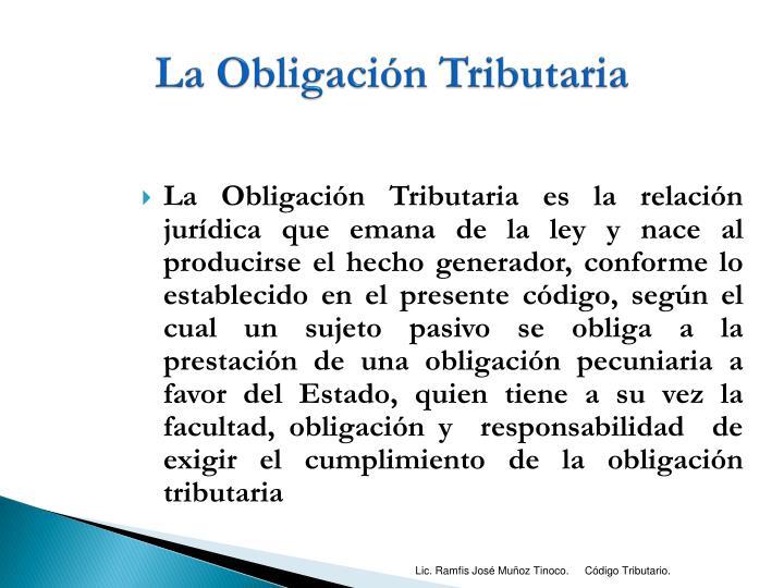 La Obligación Tributaria