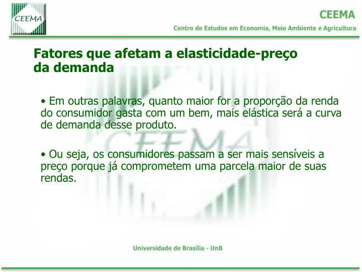 Fatores que afetam a elasticidade-preço da demanda
