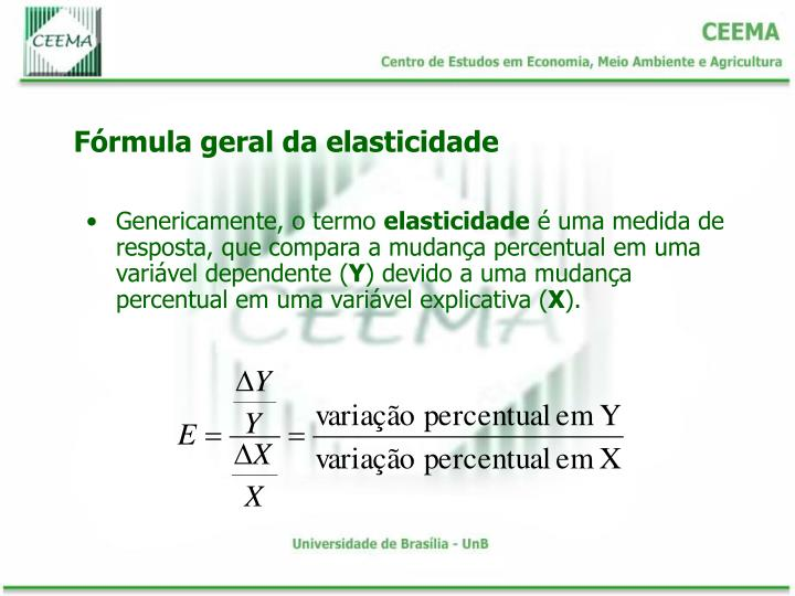 Fórmula geral da elasticidade