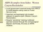 arpa examples from idaho weston canyon rockshelter