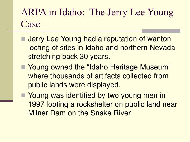 ARPA in Idaho:  The Jerry Lee Young Case