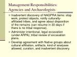 management responsibilities agencies and archaeologists