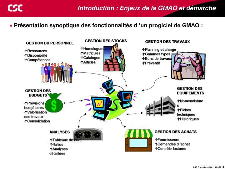 Introduction enjeux de la gmao et d marche