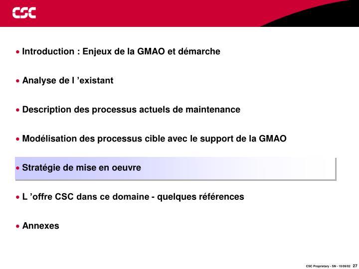 Introduction : Enjeux de la GMAO et démarche