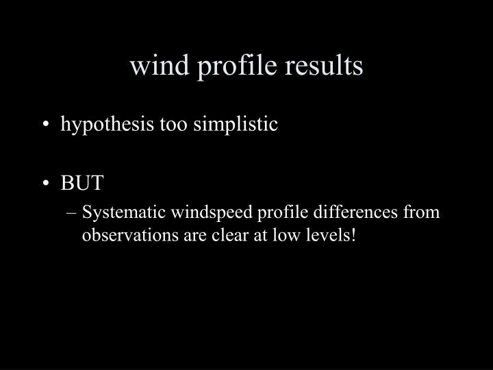 wind profile results