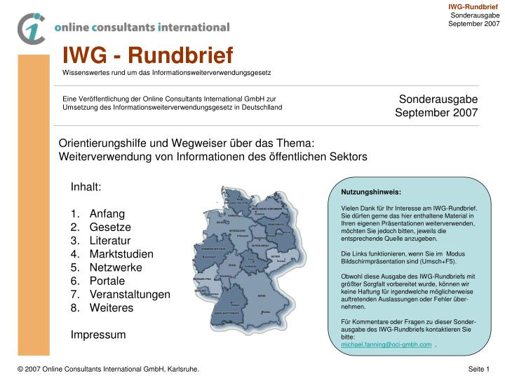 IWG - Rundbrief