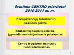 vietimo centro prioritetai 2010 2011 m m