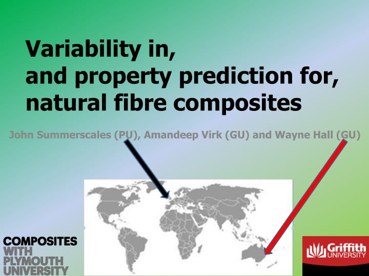 variability in and property prediction for natural fibre composites n.