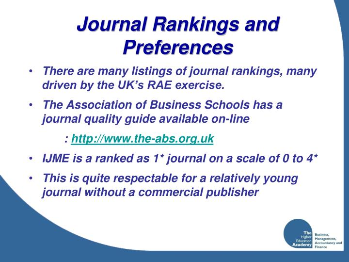 Journal Rankings and Preferences