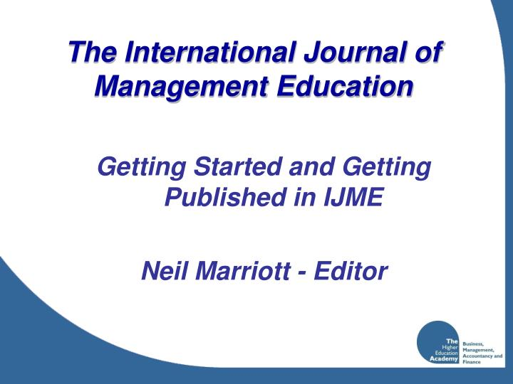 The international journal of management education