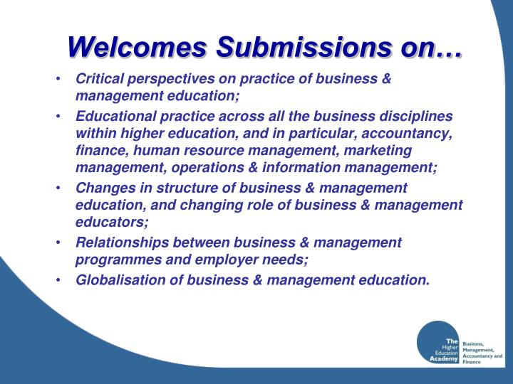 Welcomes Submissions on…