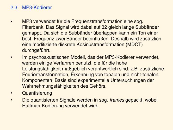 2.3 MP3-Kodierer