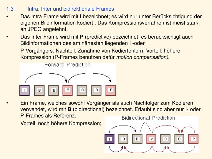 1.3Intra, Inter und bidirektionale Frames