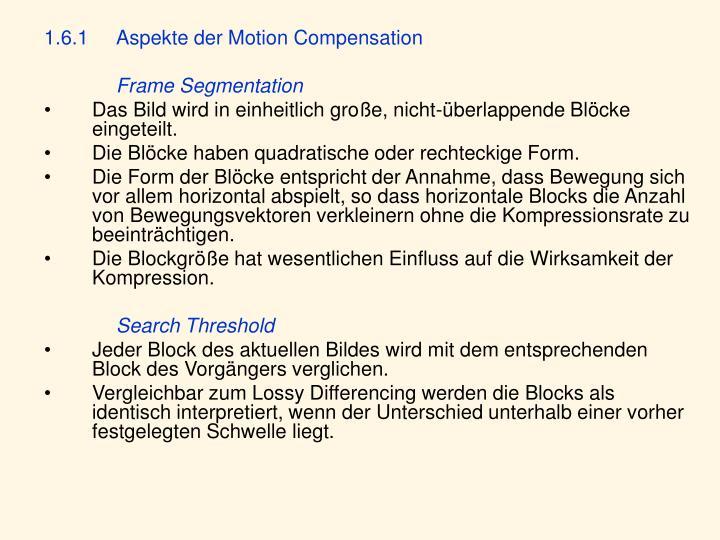 1.6.1Aspekte der Motion Compensation