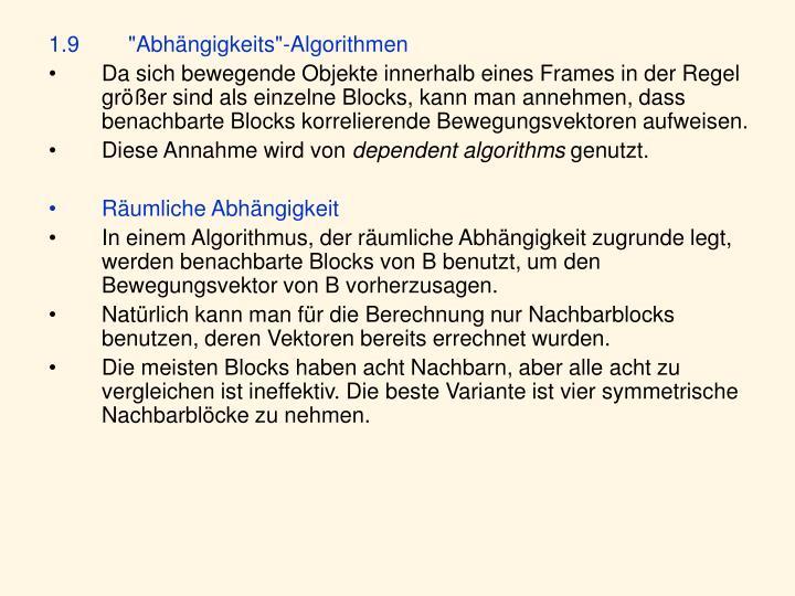 """1.9""""Abhängigkeits""""-Algorithmen"""