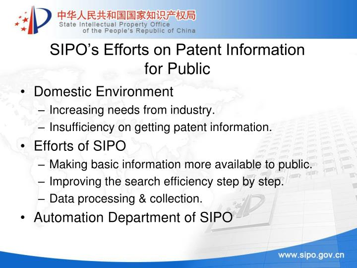 Sipo s efforts on patent information for public