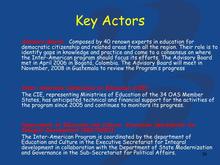 Key Actors