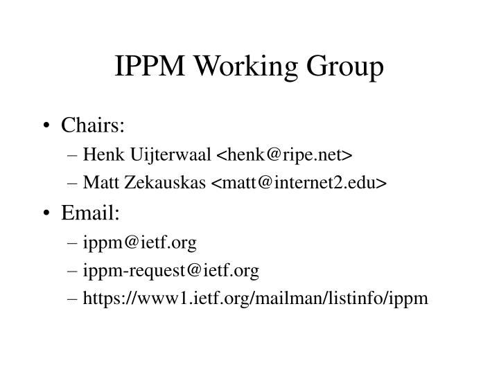 Ippm working group
