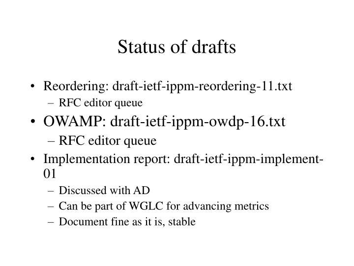 Status of drafts