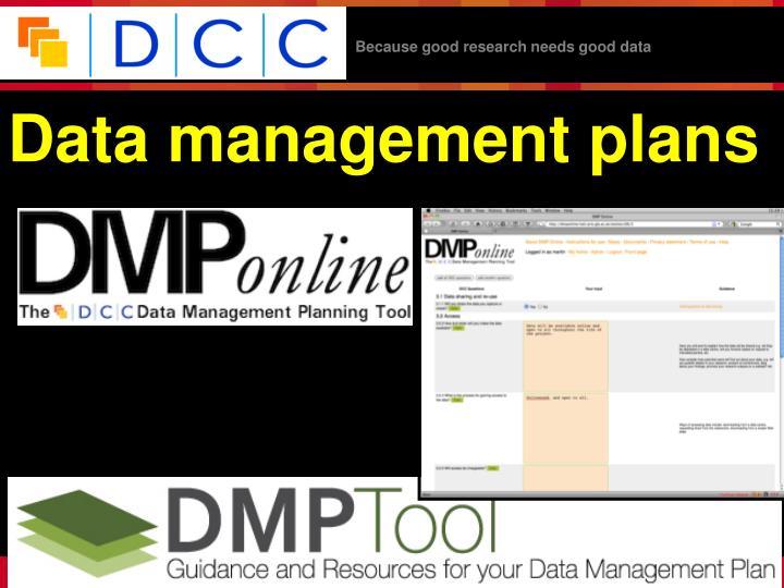 Data management plans
