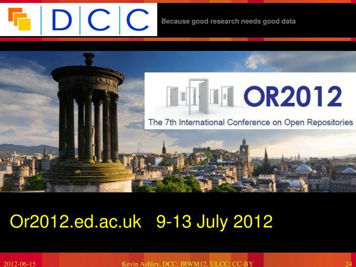 Or2012.ed.ac.uk   9-13 July 2012