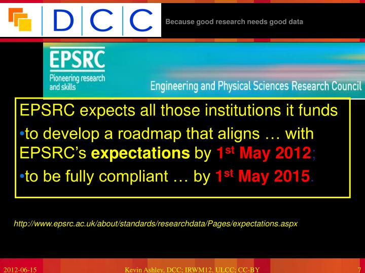 EPSRC expects all those institutions it funds