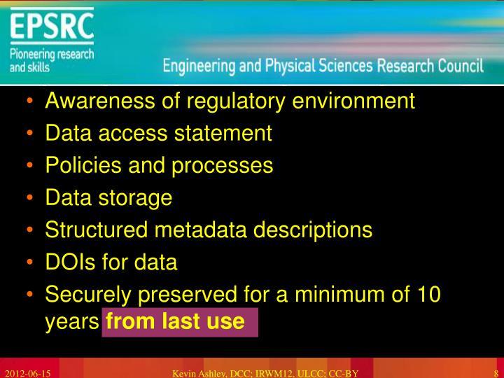 Awareness of regulatory environment