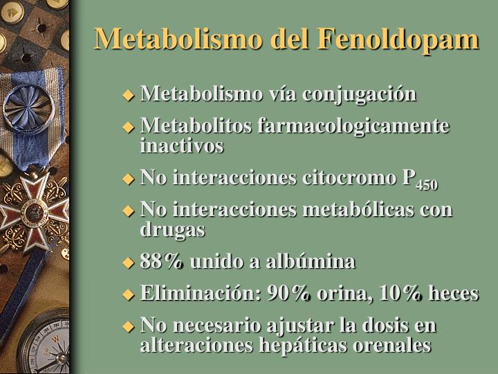 Metabolismo del Fenoldopam