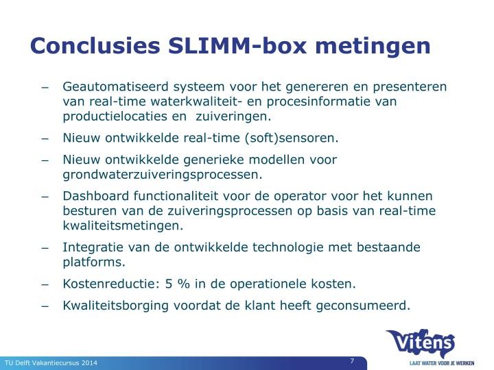 Conclusies SLIMM-box metingen