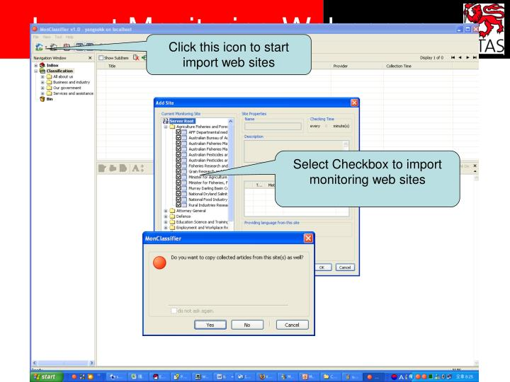Import Monitoring Webpages