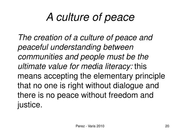 A culture of peace