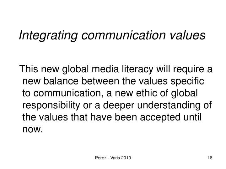 Integrating communication values