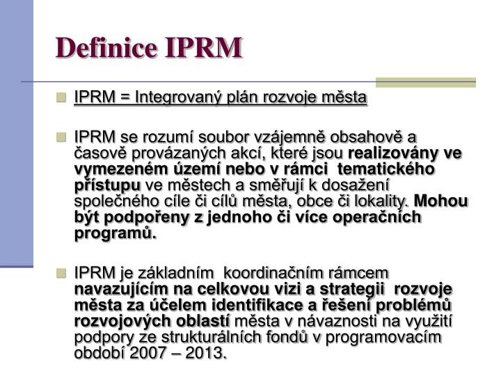 Definice IPRM