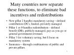 many countries now separate these functions to eliminate bad incentives and redistributions